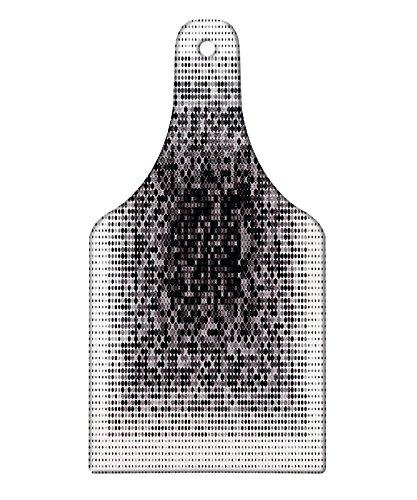 Techart Glass - Lunarable Modern Art Cutting Board, Digital Futuristic Pixel Tech-Art with Dots Spots Artificial Abstract Pattern, Decorative Tempered Glass Cutting and Serving Board, Wine Bottle Shape, Grey Black