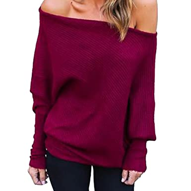 4d8968c0f73768 Women Off Shoulder Tops Long Sleeve Ladies Chunky Baggy Knitted Sweater  Jumper (S=UK 6-8, Wine Red): Amazon.co.uk: Clothing
