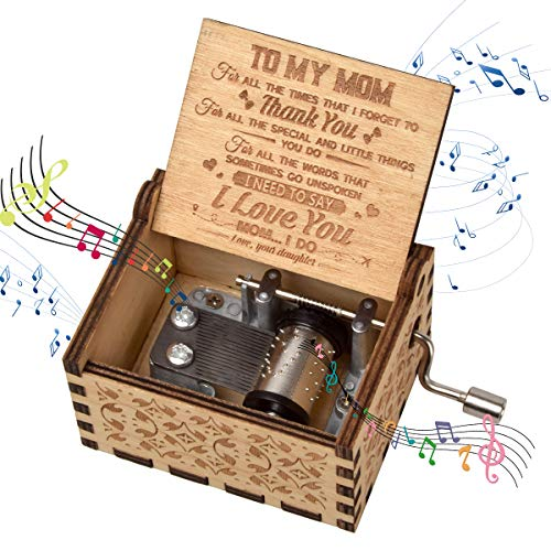 fezlens Wood Music Boxes You are My Sunshine Mum Antique Engraved Wooden Musical Box Gifts for Mother