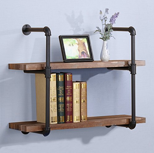 O&K Furniture 31-Inch Vintage Industrial Pipe Wall Shelf, Rustic Pipe Bracket for Shelves