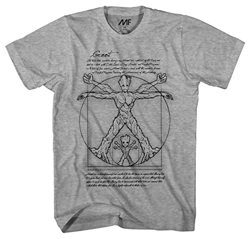 Marvel Vitruvian Groot and Baby Groot Guardians of The Galaxy Men's Adult Graphic Tee T-Shirt (Grey Heather, Large)
