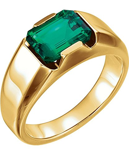 14k Yellow Gold Chatham Created Emerald Men's Ring, Size 11
