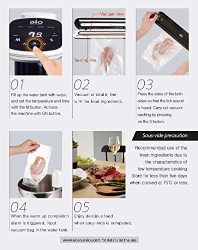 AIO Sous Vide Cooker - Powerful 1000 Watt Professional Model - 120V - Includes Vacuum Sealer - 15 Vacuum Bags - 1 16ft Roll - Cookbook - Immersion Circulator - Precision Thermal Kitchen Cooking Machine - Accurate to 0.2 degrees F - Ultra Quiet by AIO (Image #3)