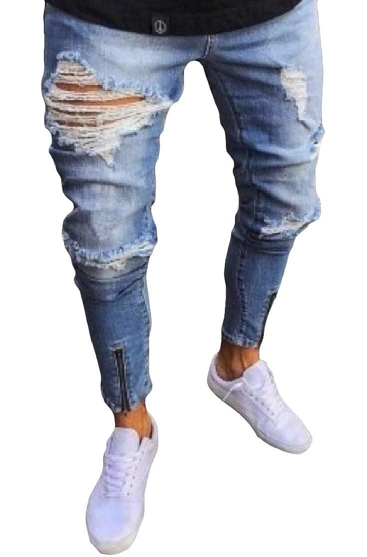 Comaba Men Pocket Ripped Hole Skinny Zipper Mid Waist Fashion Floral Print Jean