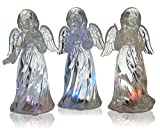 Christmas Angel Figurines - Set of 3 Acrylic Light Up Angels - Color Changing LED Lights - Assorted Angel Figurines