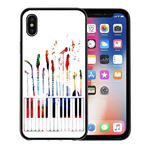 Semtomn Phone Case for Apple iPhone Xs case,Piano Colorful Music Instruments Color Guitar Modern Graphic Song for iPhone X Case,Rubber Border Protective ()