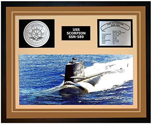Navy Emporium USS Scorpion SSN 589 Framed Navy Ship Display Brown
