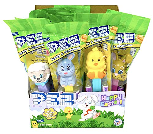 Pez Easter Candy Dispensers Individually Wrapped Dispensers and Pez Candy – Lamb, Bunny, Chick - with Tru Inertia Kazoo -Easter Basket Candy (12 Pack)