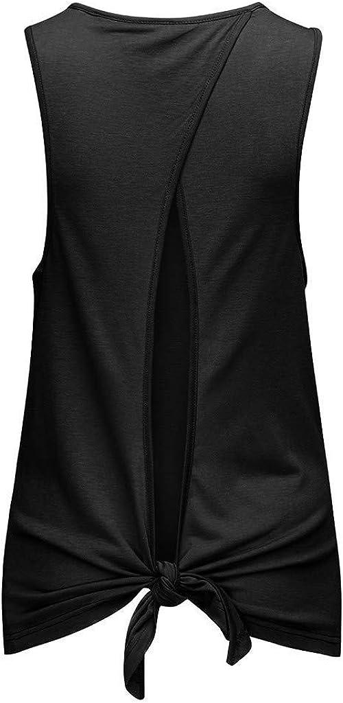 Portazai Women Tank Tops Workout Sports Shirts Backless Sleeveless Blouses Tunics Gym Exercise Athletic Yoga Tops