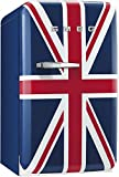 Smeg FAB5URUJ 16'' 50's Retro Style Series Compact Refrigerator with 1.5 cu. ft. Capacity Absorption Cooling Automatic Defrost and LED Interior Lighting in Union Jack Color with Right