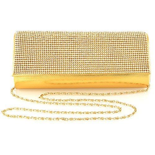 Essex Bag Metallic Satin Diamante Ladies Gold Evening Metallic Clutch Glam aWnr0a