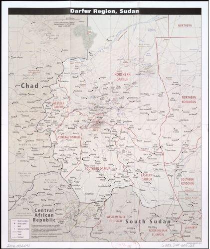 Amazon.com: 2012 Map Darfur region, Sudan. - Size: 20x24 - Ready to on