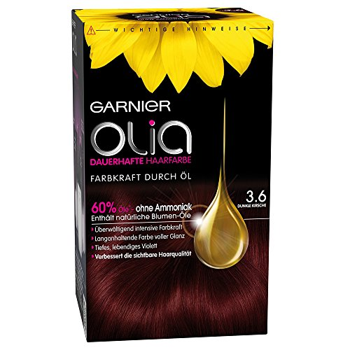 Garnier Olia Haar Coloration Dunkle Kirsche 3.6 / Färbung für Haare enthält 60% Blumen-Öle für intensive Farbkraft - Ohne Ammoniak - 3 x 1 Stück
