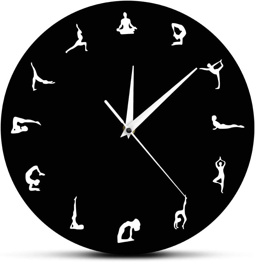 The Geeky Days Yoga Positions Wall Clock Yoga Meditation Wall Decor Gift Yoga Hindu Philosophy Align Yourself Spiritual Yogi Modern Wall Clock