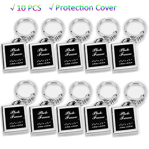 zison 10PCS Fashion Metal Alloy DIY Picture Photo Key Hooks Personalized Insert Photo Keychain Frame,Cool Gift For Friends Lovers And Family
