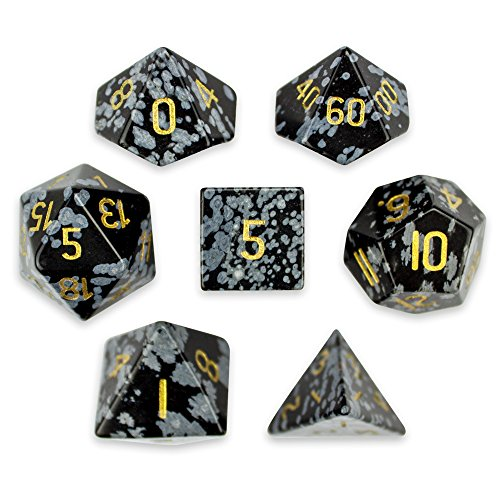 Set of 7 Handmade Stone 16mm Polyhedral Dice with Velvet Pouch by Wiz Dice (Snowflake Obsidian)