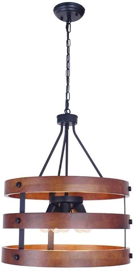 YSDHE Lámpara de Techo de Madera Pendiente de la luz Vintage Loft ...