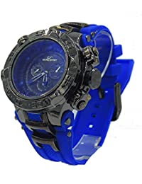 Mens Diver Look with Stainless Steel Barrel Inserts BLue Rubber Watch
