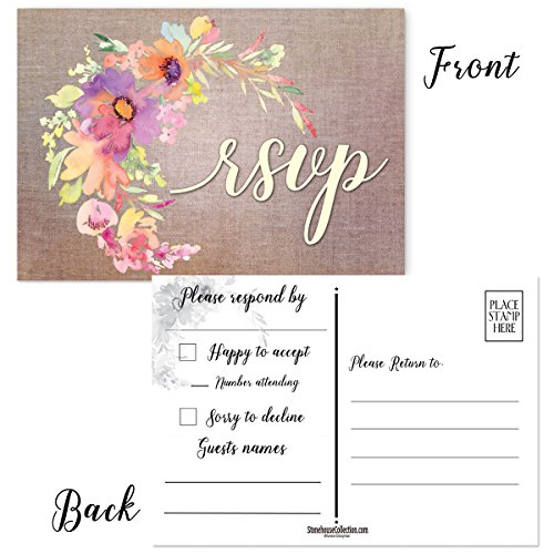 - Wedding RSVP Postcards - 50 Blank Floral RSVP Postcards - 4 x 6 Postcards - Great For Wedding RSVP, RSVP Reply Cards (Floral)