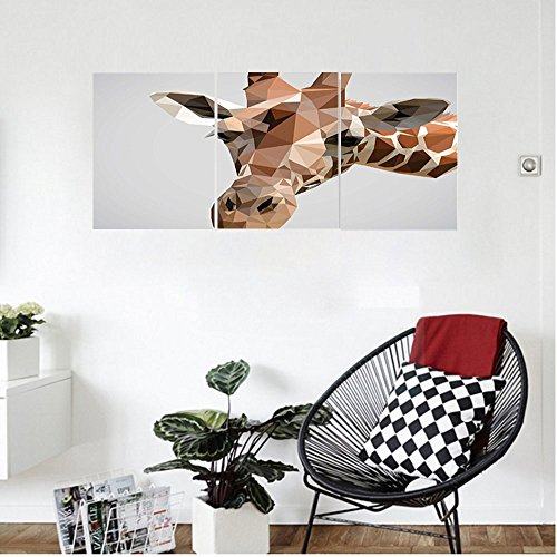 s Animal African Safari Wildlife Creature Digital Giraffe Modern Triangles Image Artwork Wall Hanging for Bedroom Living Room Brown ang Grey (Ang Bright Brush)