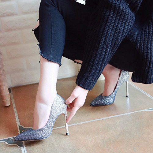 ZHUDJ Crystal Schuh Weiblicher Feder Fein Heel High Heel High Heel Schuh Flach Flacher Und Veranstaltungsräume black