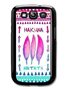 AMAF ? Accessories Hakuna Matata Lion King Pink and Blue Feather Aztec Illustration case for Samsung Galaxy S3