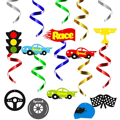 BeYumi Race Car Hanging Swirls Decorations for Let's Go Racing Themed Birthday Party Supplies Baby Shower, Festival Party, Pack of 30 PCS -