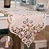 Tasera Flowers Embroidered Table Runner, Fashion Contracted Tea Table Cover Polyester Table Linen for Restaurant Kitchen Dining Wedding Party Banquet Events (15.74''W x 69.29''L)