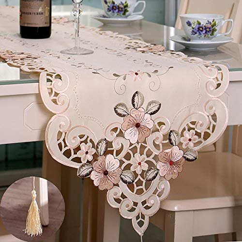 - Tasera Flowers Embroidered Table Runner, Fashion Contracted Tea Table Cover Polyester Table Linen for Restaurant Kitchen Dining Wedding Party Banquet Events (15.74''W x 69.29''L)