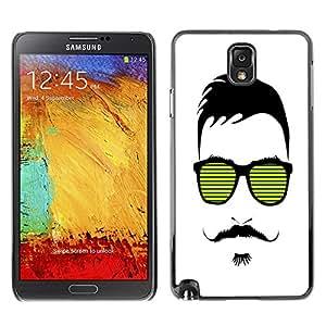 - Mustache Mania - - Monedero pared Design Premium cuero del tir¨®n magn¨¦tico delgado del caso de la cubierta pata de ca FOR Samsung Galaxy Note 3 N9000 N9008V N9009 Funny House