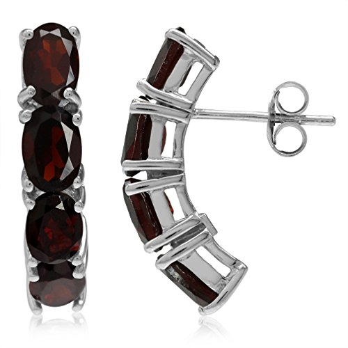 (4.64ct. Natural Oval Shape Garnet White Gold Plated 925 Sterling Silver Post Earrings)