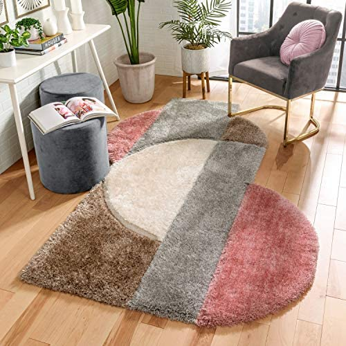 Well Woven Zesi Blush Grey Abstract Geometric 3D Beveled Shag Area Rug 5×7 5'3″ x 7'3″