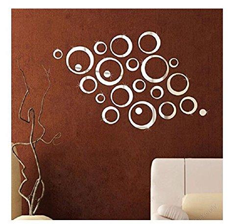 Acrylic Mirror Wall Sticker 3D Bubble forma argento RUNFON
