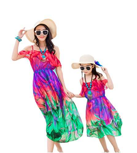 Mommy and Daughter Dress Summer Floral Dress Family Clothing Mother Me Parent-Child Outfits (Mommy A, (Family Holiday Clothing)