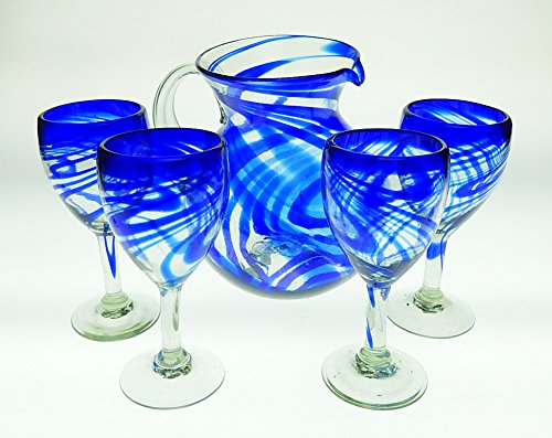 Mexican Glasses Wine & Pitcher Set, Blue Swirl (Set of 4)