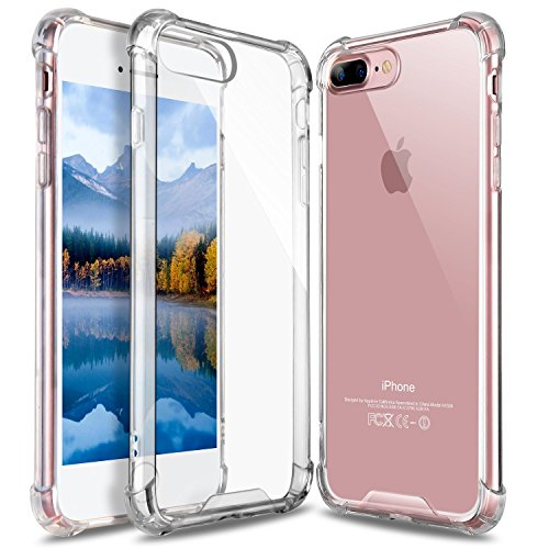 Hard Back Iphone - iPhone 8 Plus Case, iPhone 7 Plus Case, GeekZone Crystal Clear Case Hard Back Panel TPU Bumper Drop Protection Shock Absorption Technology Case for Apple iPhone 7 Plus/iPhone 8 Plus (Crystal Clear)