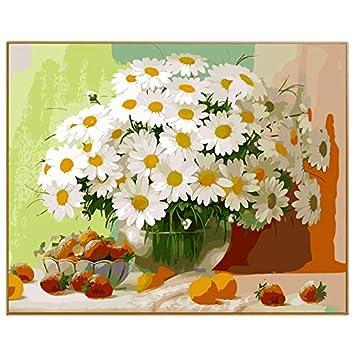 MNS9516 Sin Marco Flores Blancas Cuadro Moderno Pintura Al Óleo DIY por Números Digital para Colorear