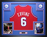 Julius Dr. J Erving Autographed Red 76ers Jersey - Beautifully Matted and Framed - Hand Signed By Julius Dr. J Erving and Certified Authentic by JSA COA - Includes Certificate of Authenticity