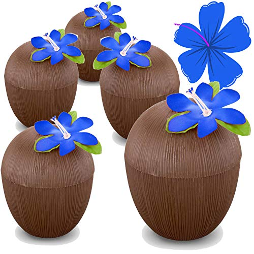 Hogue WS LLC Plastic Coconut Cups (12 PACK) w/ Decorative Flower – Luau Moana Party Supplies – Safe For Children's Hawaiian Tiki Parties (NO STRAWS) by Hogue WS LLC