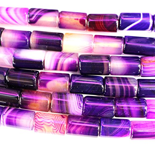 Natural Banded Agate Barrel 812mm Gemstone Jewelry Making Loose Beads (Purple)