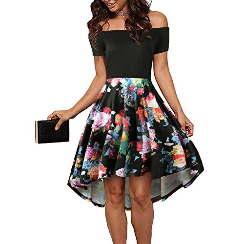 CUQY Womens Off The Shoulder High Low Hem Cocktail Skater Wedding Party Teen Formal Dresses (FBA) (Pat-4, XL)
