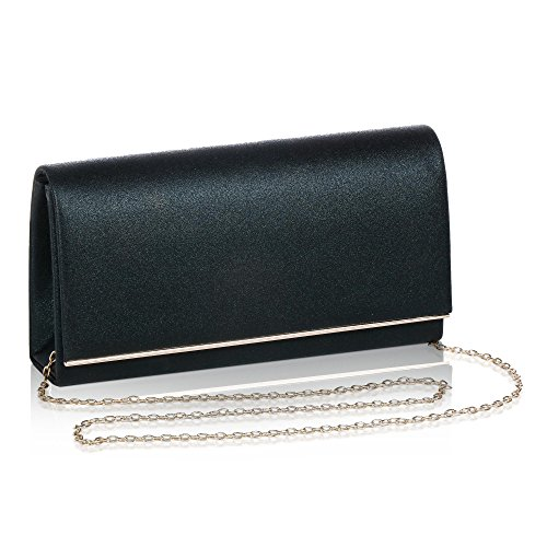 Evening Black Solid Glitter Clutch Metallic Bag Womens Color Flap WALLYN'S Handbag Gold xPAnXwq8F5