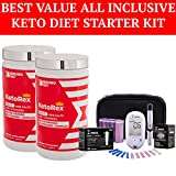 BrunoMD Exogenous Ketones BHB Salts + MCT Powder, Clinically-Proven Phytosome Complex + Blood Ketone and Glucose Monitoring System + Test Strips - Delicious, Blood Orange Blend for Diet & Weight Loss