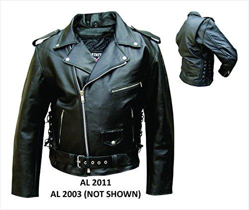 Allstate AL2011Chamarra básica de cuero para moto, para hombre, Negro, 42