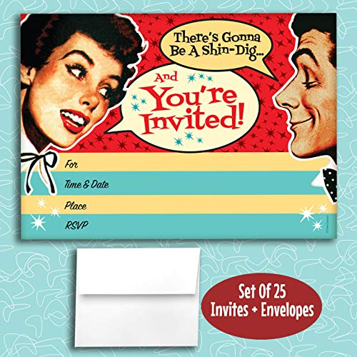Retro Couple Fill in Invitations, 25 Invites with Envelopes. Fun Retro Style is Great for Any Occasion, Birthday, Engagement, Anniversary, Cocktail Party, Dinner Party, Couple Shower.