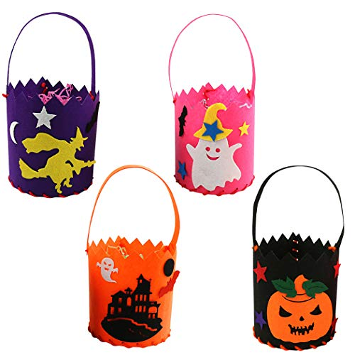 (Zoylink 4PCS Candy Tote Bag Assorted DIY Trick or Treat Bag Halloween Candy)