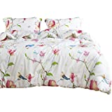 Wake In Cloud - Floral Duvet Cover Set, 100% Cotton Bedding, Botanical Flowers and Birds Pattern Printed, with Zipper Closure (3pcs, Twin Size)