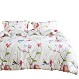 Wake In Cloud - Floral Duvet Cover Set, 100% Cotton Bedding, Botanical Flowers and Birds Pattern Printed, with Zipper Closure (3pcs, Full Size)