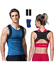 Nasharia Posture Corrector Unisex - Size Adjustable, Back Straightener Posture Corrector for relieving back pain and shoulder pain (with 2 shoulder pads & 1 knee protector)