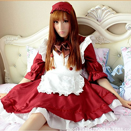 Halloween Little Red Cosplay Costume Set Maid Adult Fancy Dress Alice Princess (French Maid Uniform Dress)